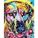 Animal de Chien de couleurAnimal de Chien de couleur5D DIY Peinture numéro_PréimpressionToile_Bricolage numérique pour Enfants Adultes Peindre par Nombre Kits_—40x50cm sin Marco