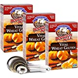 Hodgson Mill Vital Wheat Gluten with Vitamin C 6.5 Ounce - Pack of 3 - For Higher Rise and Softer Textures Breads - Ideal for Consistent and Beautiful Baking - Bonus Measuring Spoon Set Included!