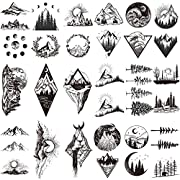 【22 SHEETS/LOT】- 22 sheets temporary tattoos, mountain temporary tattoos stickers size 4.1*2.4 inch (10.5*6cm), used for arms, shoulders, back, legs and any other part of your body. Semi permanents tattoo also can apply them to some smooth objects, f...
