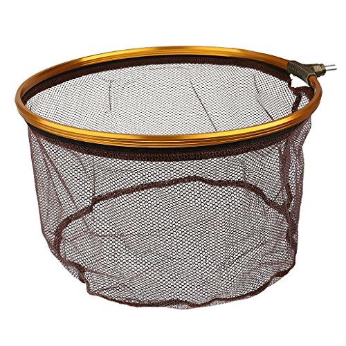 MagiDeal Pieghevole Pesca Guadino in Acciaio Inox Atterraggio Rete da Pesca Carpa Rotondo Forma- caff - 13.7 Pollici