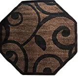 Modern Octagon Contemporary Area Rug Brown Americana Design 154 (5 Feet 3 Inch X 5 Feet 3 Inch )