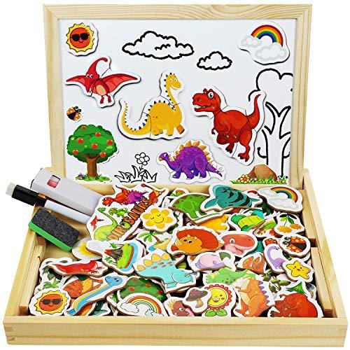 Puzzle Magnetico Legno, Cooljoy 118 PCS Legno Giocattolo Puzzle Double Face Pittura, Dinosaur...
