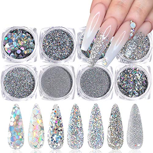 Holographic Nail Glitter Sequins Nail Art Supplies 3D Nails Glitter Flakes Shiny Acrylic Nails Powder Dust Silver Nail Glitters Set for Nails Art Decoration Sparkle Manicure Tips Charms (8 Boxes)