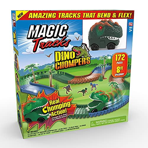 Ontel Magic Tracks Dino Chompers, 8 Feet of Track with Real Chomping...