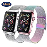GBPOOT Compatible for Apple Watch Band 38mm 40mm 42mm 44mm, Wristband Loop Replacement Band for Iwatch Series 5,Series 4,Series 3,Series 2,Series 1,Colorful and Silver,42mm/44mm
