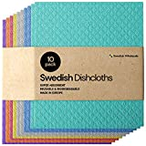 Swedish Dishcloth Cellulose Sponge Cloths - Bulk 10 Pack of Eco-Friendly No Odor Reusable Cleaning Cloths for Kitchen - Absorbent Dish Cloth Hand Towel (10 Dishcloths - Assorted)
