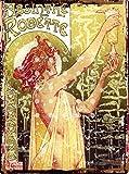 Absinthe Affiche publicitaire rétro absinthe Robette Art Deco classique avec plaque en métal style vintage rétro grand 30,5x 40,6cm 30x 40cm