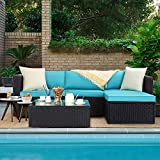 VITESSE 5 Pieces Patio Furniture Sectional Sets, Outdoor All-Weather PE Rattan Wicker Lawn Conversation Sets, Garden Sofa Set with Coffee Table and Washable Cushion