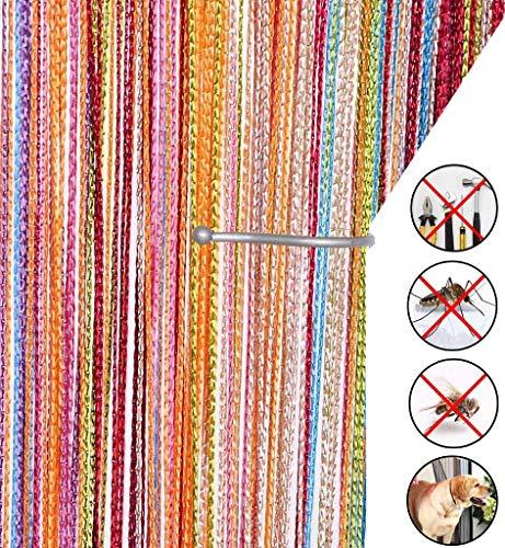 AIZESI Retro Fadenvorhang Insektenschutz Türvorhang 90x 200cm Trennwand Fenster Vorhang(Rainbow)