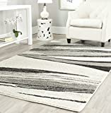 Safavieh Retro Collection RET2691 Modern Abstract Non-Shedding Stain Resistant Living Room Bedroom Area Rug, 8' x 10', Light Grey / Ivory