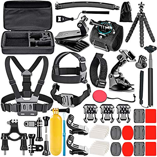 Neewer 50-In-1 Kit di Accessori per Action Camera Compatibile con GoPro Hero 9 8 Max 7 6 5 4 Black GoPro 2018 Session Fusion Argento Bianco Insta360 DJI AKASO APEMAN Campark SJCAM Action Camera ecc.