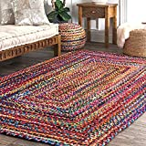 Hand Braided Chindi Rag Rug - Cotton Rectangle Bohemian Colorful Area Rug - Recycled Braided Chindi Rugs- Biodegradable - 2x3 Feet