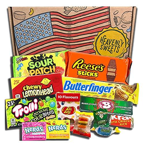 Mini caja de American Candy   Caja de caramelos y Chucherias Americanas   Surtido de 13 artículos incluido Reeses Jelly Belly Jolly Rancher   Golosinas para Navidad Reyes o para regalo