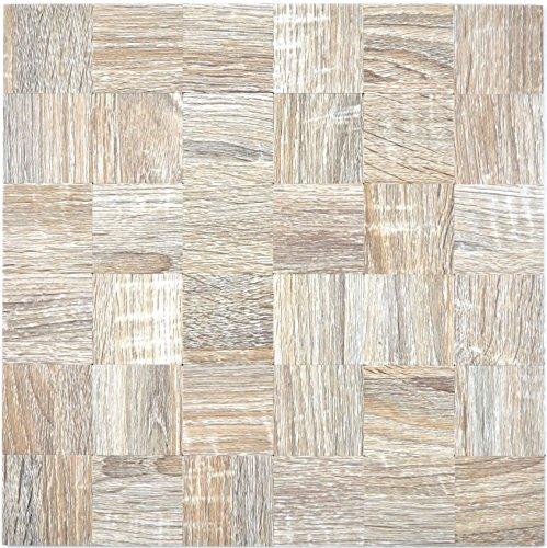 Piastrelle mosaico autoadesive in alluminio, grigio chiaro, effetto legno, per pareti, bagno,...