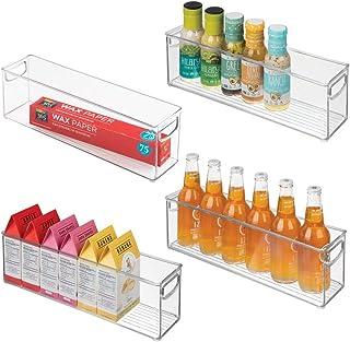 mDesign Plastic Stackable Kitchen Pantry Cabinet, Refrigerator or Freezer Food Storage..