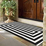 LEEVAN Cotton Print Area Rug 2' x 4.3' Black and White Striped Doormat Machine Washable Woven Fabric Non-Slip Doormat for Kitchen Floor Laundry Living Room