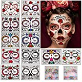 Herefun Halloween Tatuajes Temporales de Cara, Pegatinas de Maquillaje Facial,...