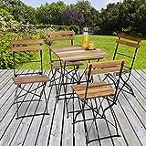 Relaxdays Gartenstuhl 4er Set, klappbar, Metall, Naturholz, ohne Armlehnen, H x B x T: 84 x 42 x 44 cm, naturfarben - 8