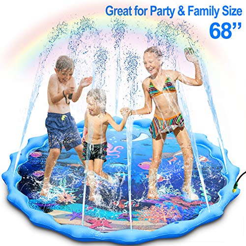 "Sprinkler and Splash Pad, Large 68"" Inflatable Sprinkler Pad Wading Pool, Outdoor Ocean Life Splash Play Mat Water Toy for 1-12 Years Old Toddlers Kids"