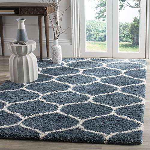 Safavieh Hudson Shag Collection SGH280L Moroccan Ogee 2-inch Thick Area Rug, 3' x 5', Slate Blue/Ivory