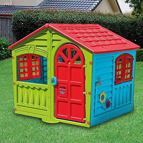 Casetta per Bambini Casa Gioco per Bambini Esterno casetta da giardino per bambini casetta per Bambini da Interno Giardino Casetta da Gioco Tradizionale Grande 140X111X115Hh