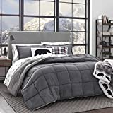 Eddie Bauer | Sherwood Collection | Plush Super Soft Micro-Seude Reversible to Sherpa Comforter with Matching Shams, 3-Piece Bedding Set, Full/Queen, Grey