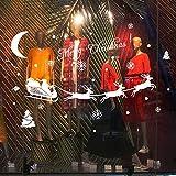 Navidad Santa Claus Etiqueta de la pared Elk Etiqueta de vidrio Habitación de los niños Diseño de arte Decoración del hogar Etiqueta de la pared El tamaño de la imagen es solo de referencia
