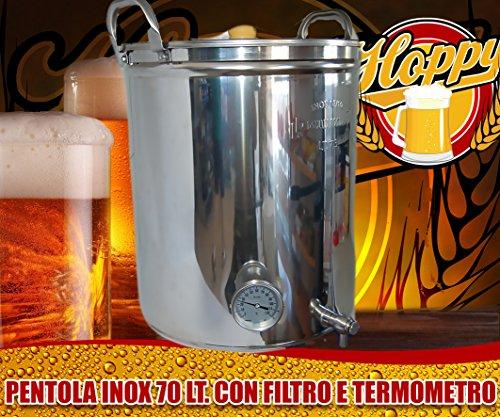 Hoppy Pentola 70 Litri Inox Filtrante Bazooka E Termometro Altissima Precisione Birra