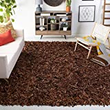 Safavieh Leather Shag Collection Area Rug, 4' x 6', Saddle