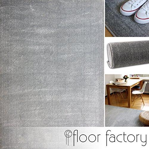 floor factory Tappeto Moderno Kolibri Grigio Argento 160x230cm - Colori Vivaci e Facile da Pulire