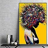 wZUN Mujeres Negras africanas Retrato Colorido Lienzo Pintura Carteles e Impresiones Pared Arte Lienzo Cuadros 60x80cm Sin Marco