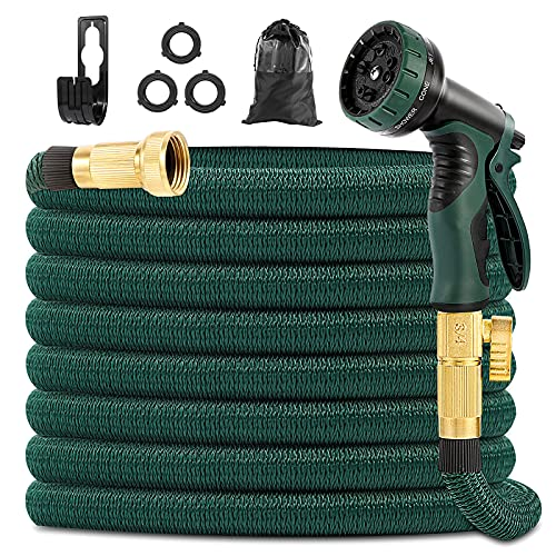 Yeenuo Expandable Garden Hose 50ft with 10 Function Nozzle- 3/4' Solid Brass Fittings -Strong Hose Fabric and 4-Layers Latex Core hose -Easy Storage No Kink Flexible Water Hose-Lightweight Hose Pipe
