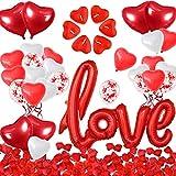 iZoeL Décorations Saint Valentin, XXL Ballon LOVE, 1000 Pétale Rose Rouges, 50...