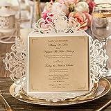Wishmade Kits de tarjetas de Invitaciones de boda marfil, 50 piezas cuadrado patrn de flores de encaje invitaciones de matrimonio para cumpleaos Baby Shower cena tarjetas