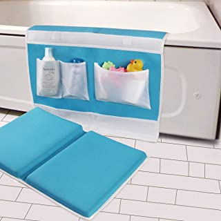 "Bath Kneeler with Elbow Rest Bathtub 1.5"" Thick Kneeler Mat with Toy Organizer.."