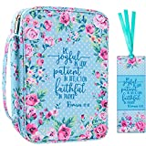 """Floral Bible Cover Case with Scripture Carrying Book Case Church Bag with Leather Bookmark Protective with Handle, Zipper and Pockets for Standard Size Bible, Gift for Women Girl Kids 10x7.5x2.5"""""""