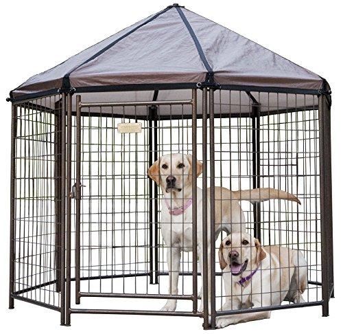 Advantek Pet Gazebo Outdoor Metal Dog Kennel with Reversible Cover, 5 Foot