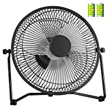 COMLIFE 11 Inch Battery Powered Desk Fan USB Table Fan, Rechargeable Portable Fan with 4400mAh Batteries, Quiet USB Metal Fan for Home, Office, Camping