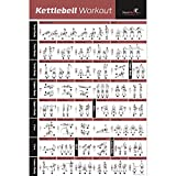 """Kettlebell Workout Exercise Poster Laminated - Home Gym Weight Lifting Routine - HIIT Workout - Build Muscle & Lose Fat - Fitness Guide (20' x 30"""")"""