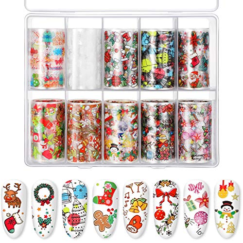10 Sheets Nail Decals Art Nail Foil Transfer Stickers, Decals for Nail Art, DIY Decoration for Women and Kids, 10 Colors (Christmas Pattern)