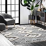 nuLOOM Moroccan Shag Fringe Wool Rug, 4' x 6', Grey