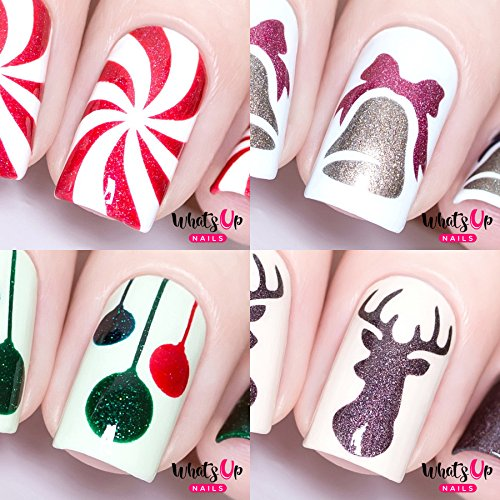 Whats Up Nails - Christmas Nail Vinyl Stencils 4 pack (Peppermint Candy, Bell, Festive Globes, Antler) for Nail Art Design