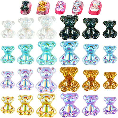 Loopeer 144 Pieces Bear Nail Art Decoration 3D Resin Cute Bear Nail Art Decorations Crystal Bear Shaped Rhinestones Nails Art Accessories for DIY Nail Art Design Manicure Tips Decor (Assorted Color)
