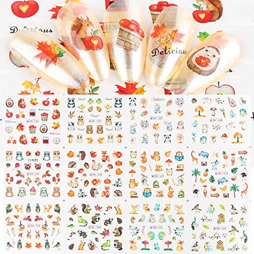 Fall Nail Art Stickers Decals Fall Leaf Nail Art Supplies Nail Foil Autumn Colors Water Transfer Nail Accessories Decorations 12 Design Maple Leaf Cute Animal Fall Nail Designs for Acrylic Nails