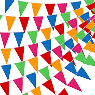 YGEOMER 300pcs Colorful Pennant Flags Banner 375ft Multicolor Pennant Banner Nylon Cloth..