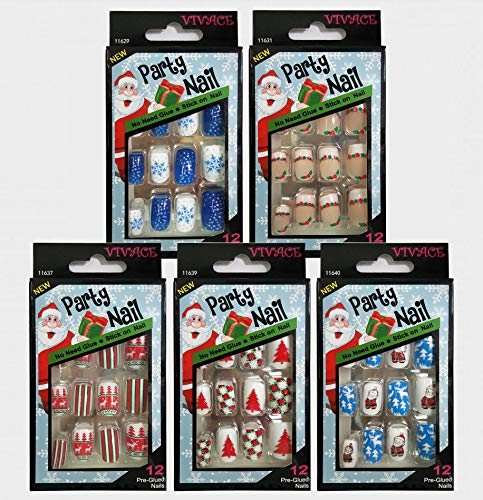 Vivace 5Pack 60tips Press On Christmas Novelty Nails, Sticker Nails (Tree)