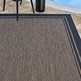 Gertmenian 21359 Outdoor Rug Freedom Collection Bordered Theme Smart Care Deck Patio Carpet, 8x10 Large, Border Black Nut Brown