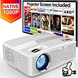 [Native 1080P Projector] DR. J Professional 6800Lumens LCD Projector Full HD Projector 300' Display, Compatible with TV Stick, HDMI, AV, VGA, PS4, Smartphone for Home Theater, Presentations