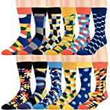 Men's Dress and Casual Socks - 12 Pack Fun Patterns and Colors - Breathable, Crew, Cotton Blend -by Zeke (Bright Collection)