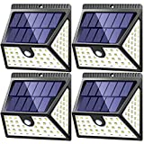 Solar Lights Outdoor Motion Sensor 4 Pack, 1640 Lm with 270° Wide Lighting Angle, MITAOHOH Waterproof Wireless Solar Powered Security Wall Light for Garage Walkway Step Stair Fence Deck